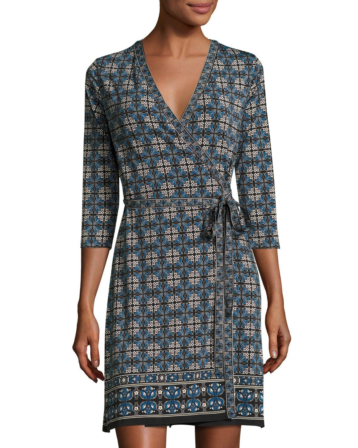 Max Studio Printed 3 4 Sleeve Wrap Dress In Black Lyst