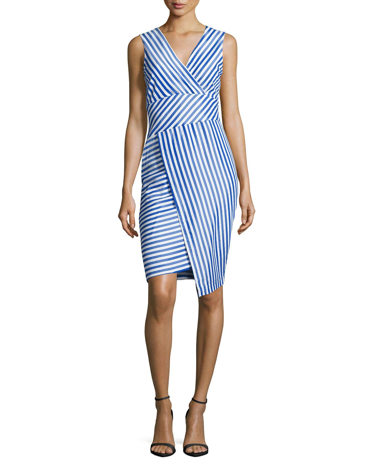 Neiman marcus striped sleeveless sheath dress in blue lyst for Neiman marcus dresses for wedding guest