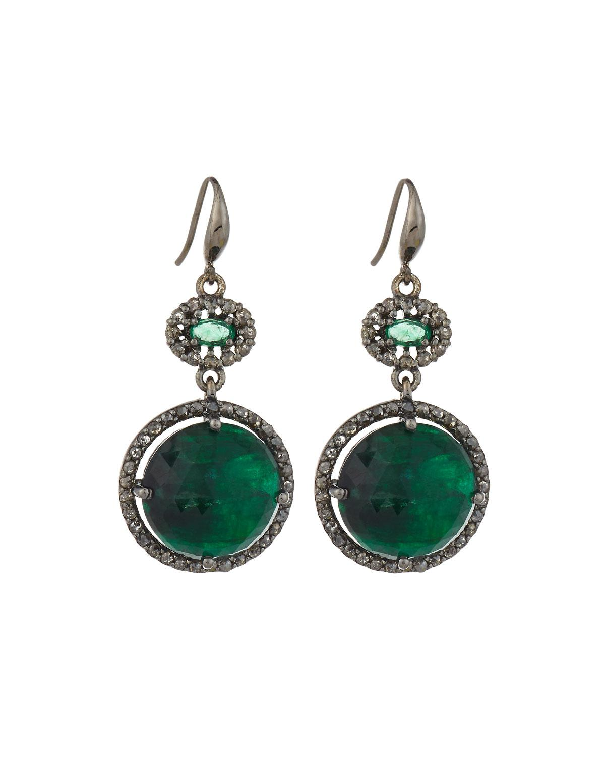 bavna jewelry bavna emerald chagne drop earrings in 2472