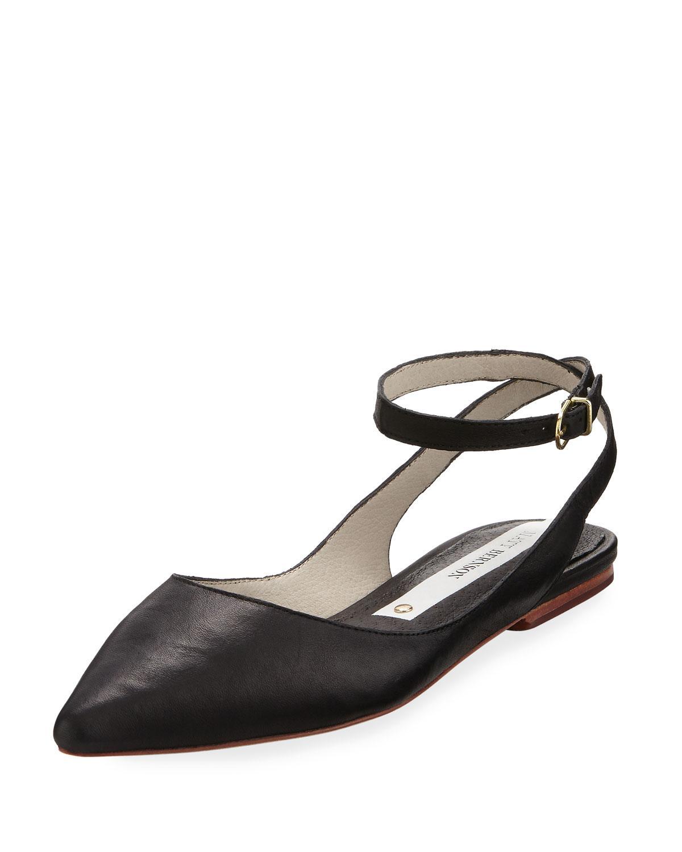 Lyst Matt Bernson Zola Ankle Strap Leather Flat In Black