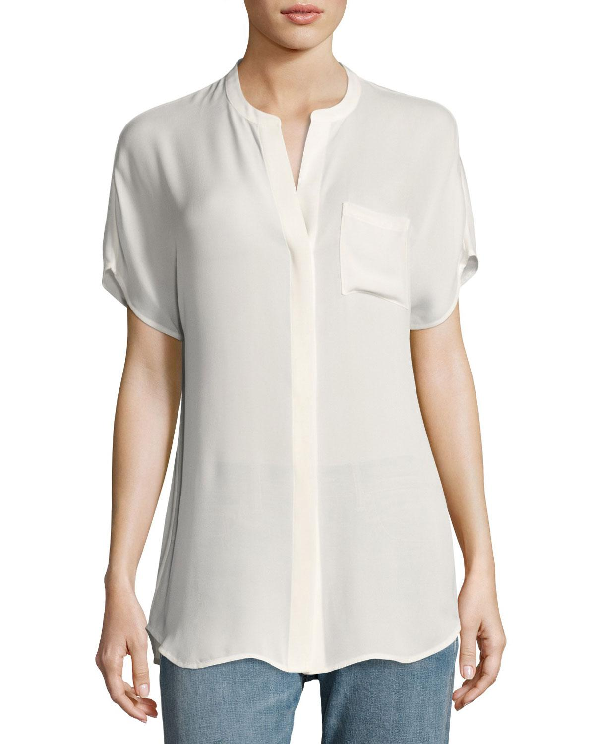 Vince Short Sleeve Silk Popover Top In White Lyst