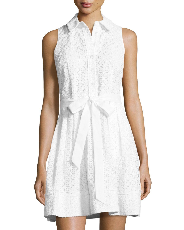 Milly sleeveless cotton eyelet shirtdress in white lyst for Mens eyelet collar dress shirts