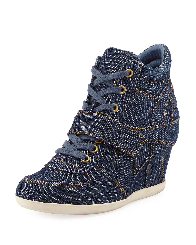 Lyst - Ash Bowie Denim Wedge Sneaker in Blue