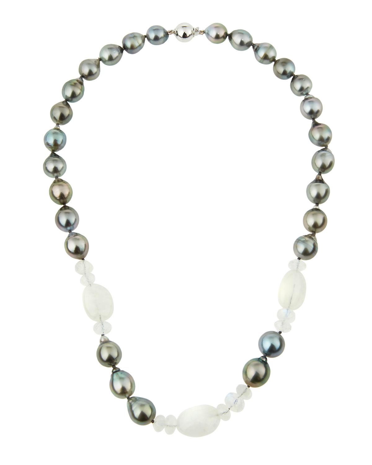 Belpearl Black Tahitian Pearl & Moonstone Station Necklace in 18K White Gold 5RoUdmk9