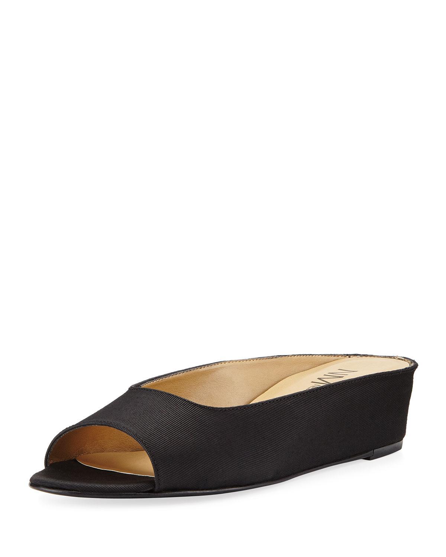 Neiman marcus Kade Grosgrain Slide Flat Sandal in Black   Lyst