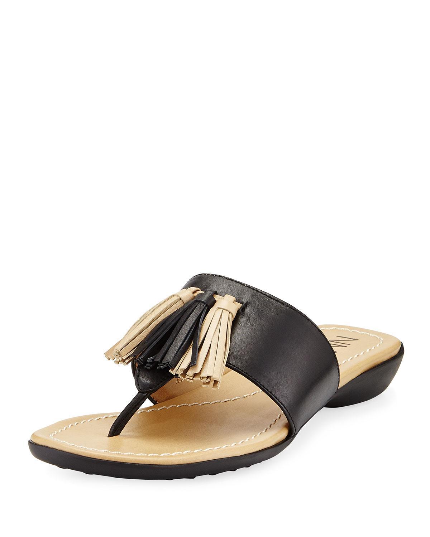 Neiman marcus Tabina Leather Slide Flat Sandal in Black   Lyst