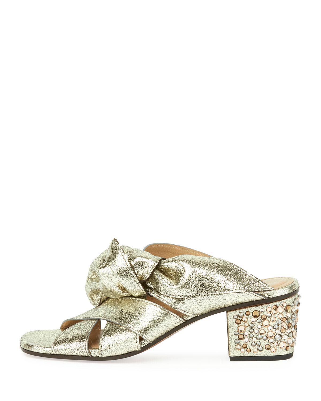 746600554ab Lyst - Chloé Leather Bow Chunky-heel Sandal