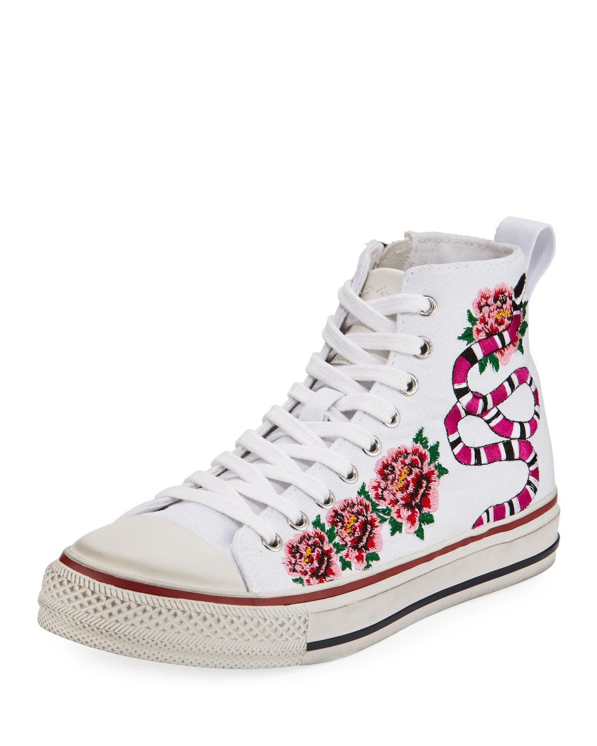 Ash vanina embroidered high top sneaker in white lyst