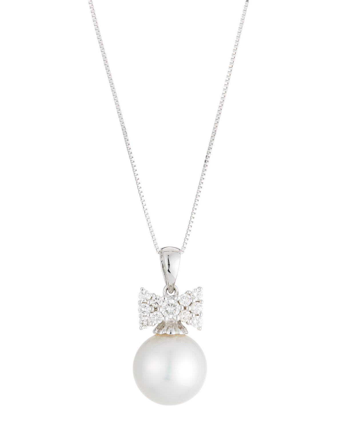 Belpearl 18k Diamond Flower & South Sea Pearl Pendant Necklace 2Xopw