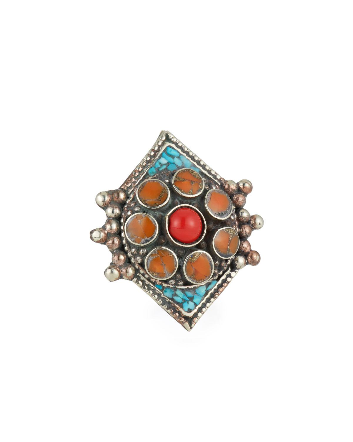 Devon Leigh Coral & Turquoise Adjustable Flower Ring 29WEJ