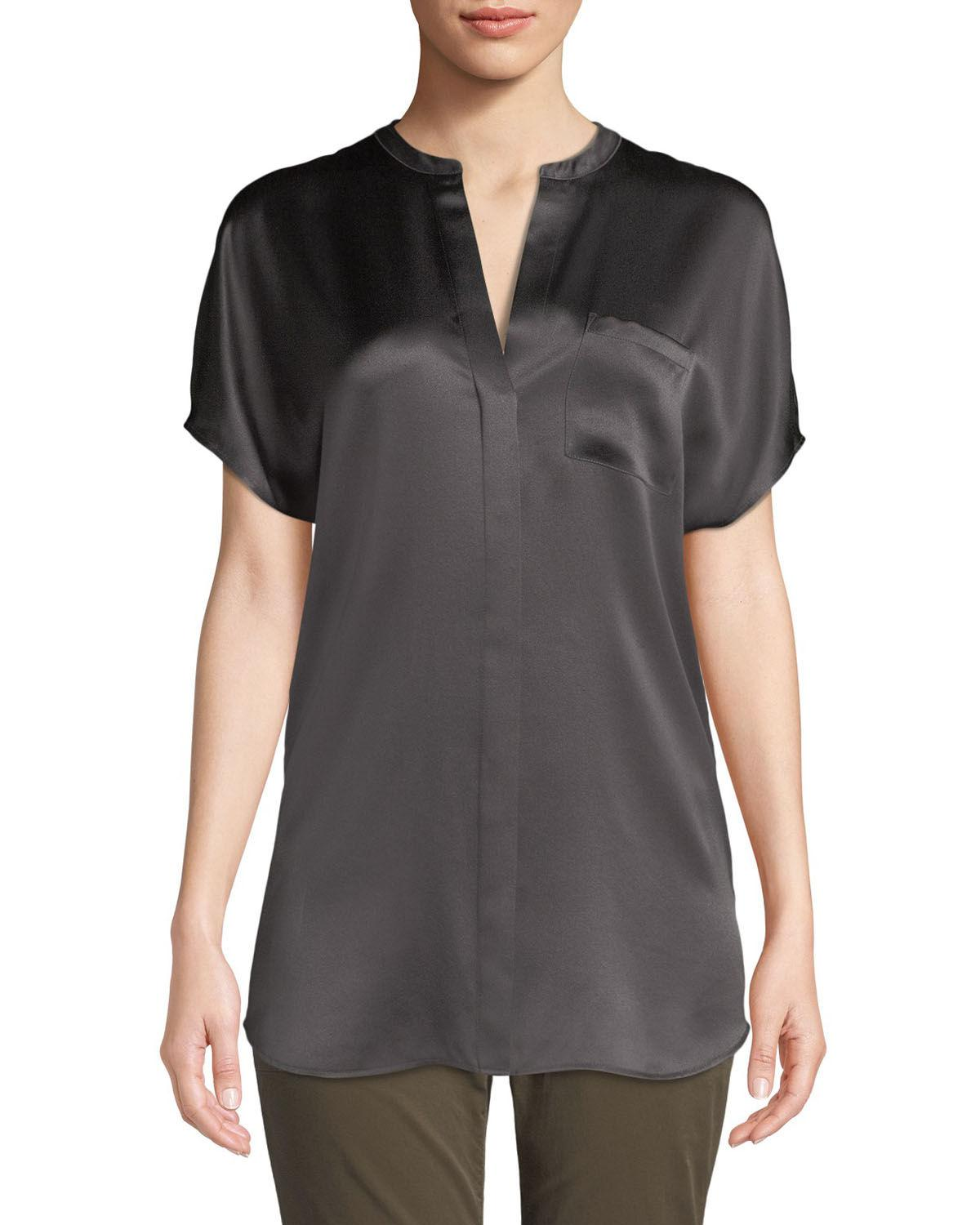 8abc446793309 Lyst - Vince Silk Satin Popover Blouse in Gray