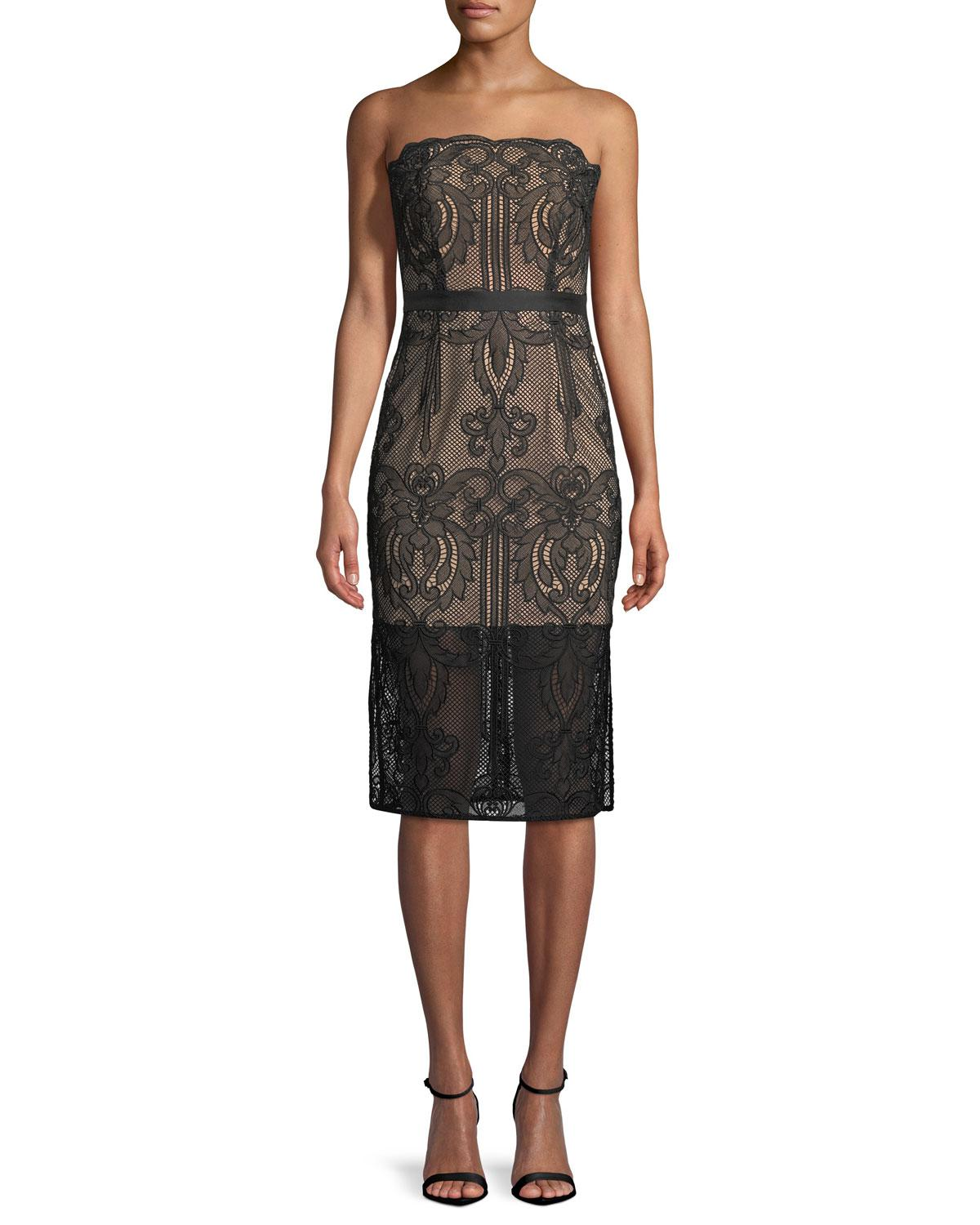 b8bffbe44b68 Lyst - Aijek Strapless Lace Applique Cocktail Dress in Black - Save 30%