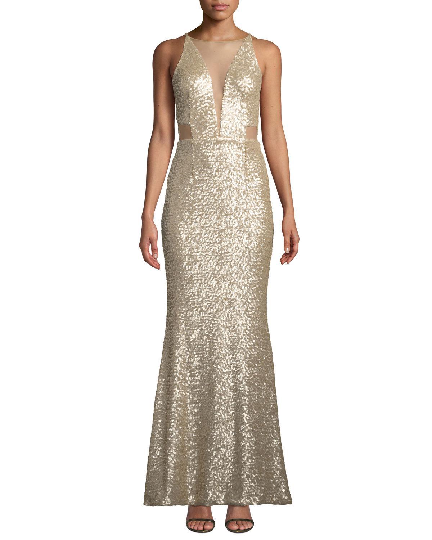 cca1e2cd Dress the Population. Women's Metallic Sarah Illusion Neck Sequin Trumpet  Gown