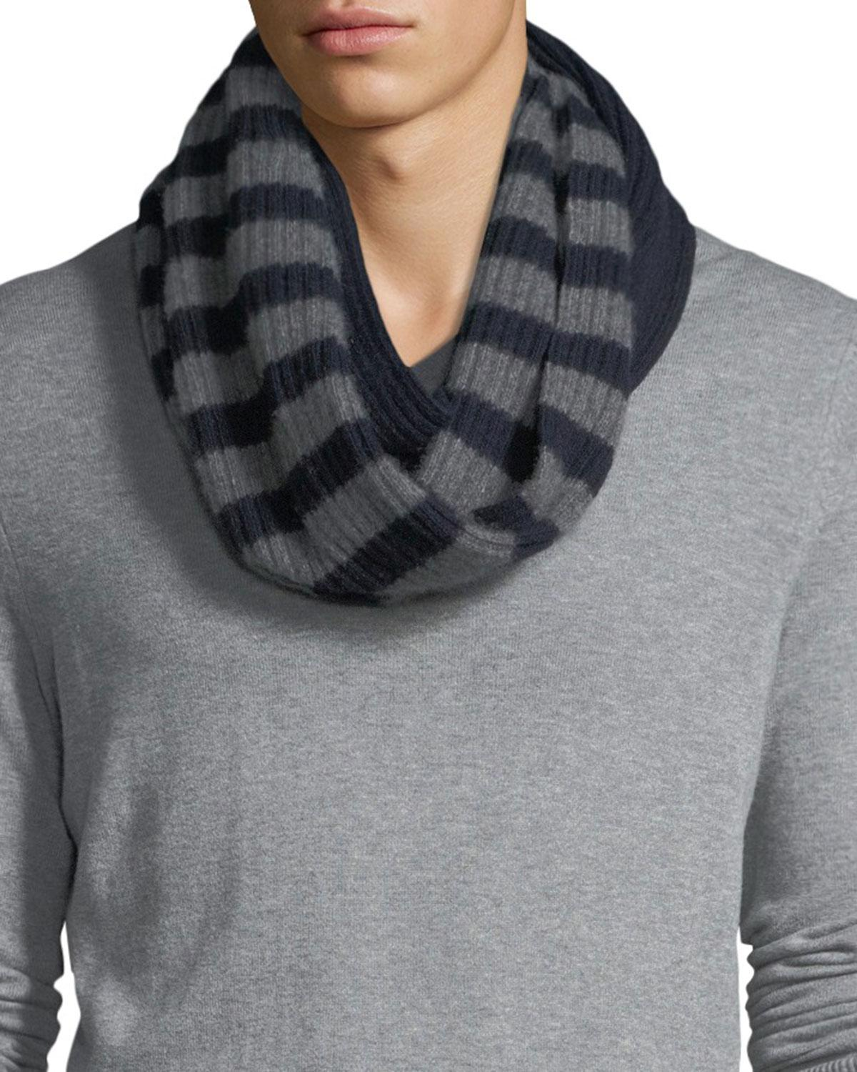bea0ad16d Portolano Men's Cashmere Striped Infinity Scarf in Blue for Men - Lyst
