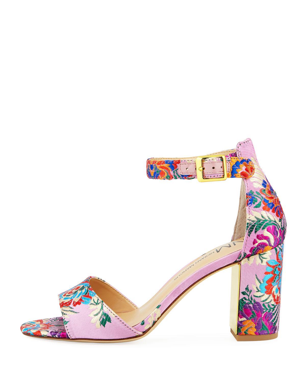 360e8c7af80 Lyst - Neiman Marcus Amaranta Floral Satin Sandals Pink in Pink