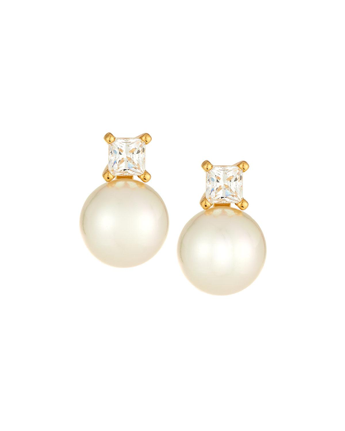 Majorica Cubic Zirconia Manmade Pearl Earrings qeskmK1