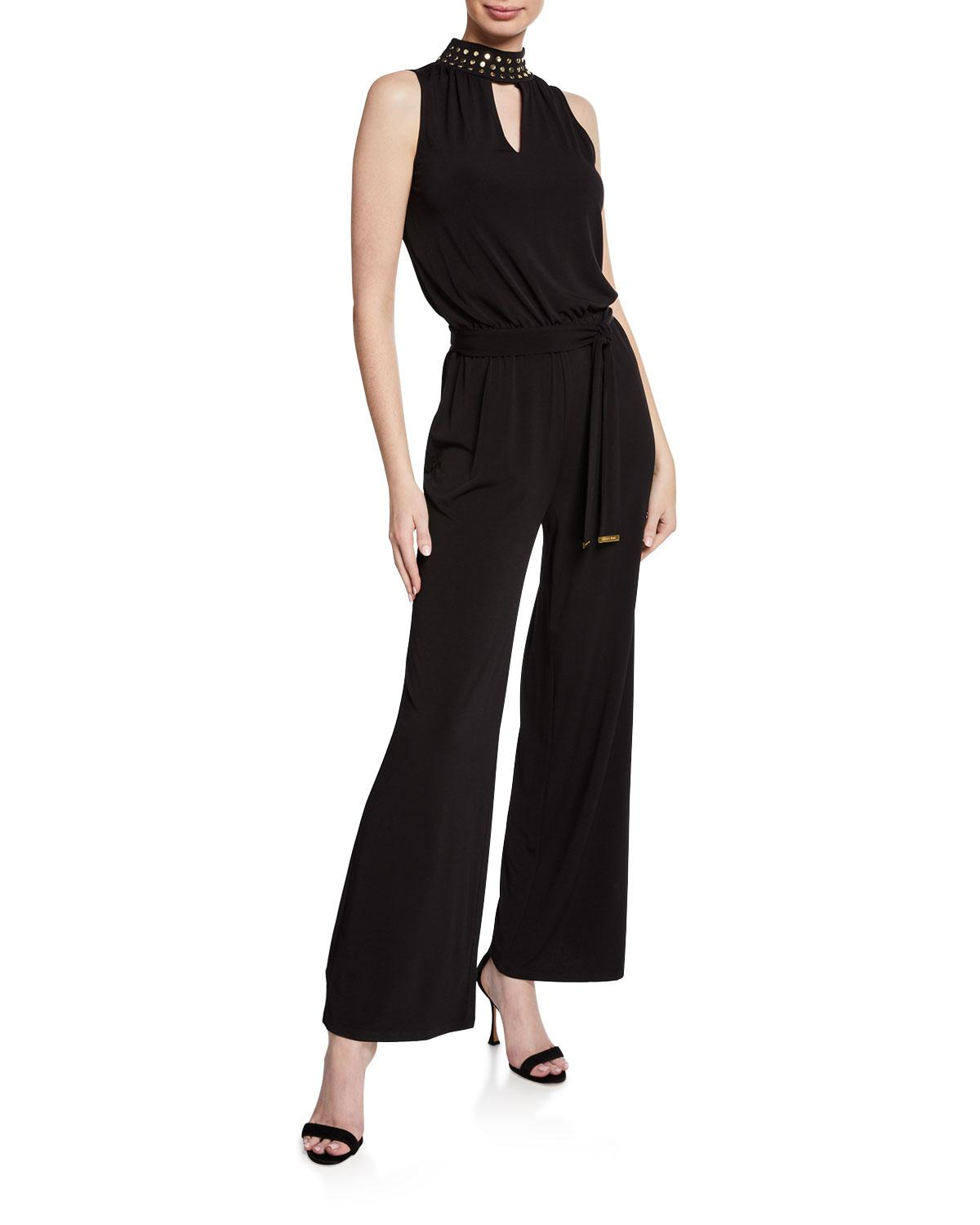 7c01138389c Lyst - MICHAEL Michael Kors Studded Mock-neck Belted Jumpsuit in ...