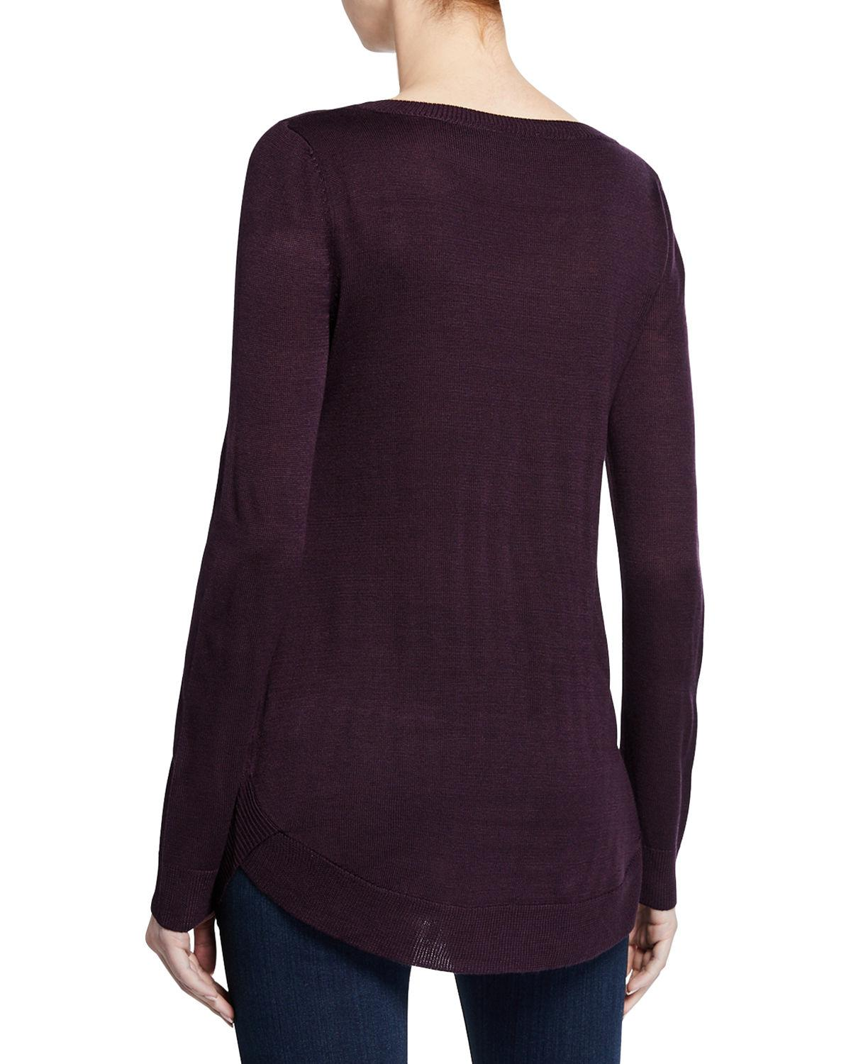 fabd583f15a09a Lyst - Neiman Marcus Circular-hem Long-sleeve Top in Black