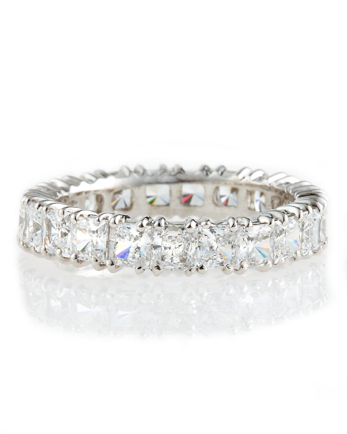 Fantasia Blue & White CZ Eternity Band Ring in 14K White Gold p6RU4EVc