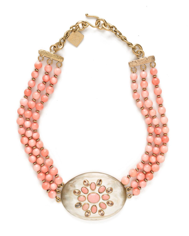 Ashley Pittman Triple-Strand Coral & Light Horn Necklace KZW5u
