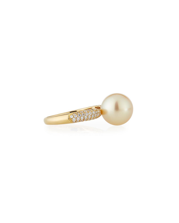 Belpearl 18k Two-Tone Pearl Ring w/ Diamond, Size 7