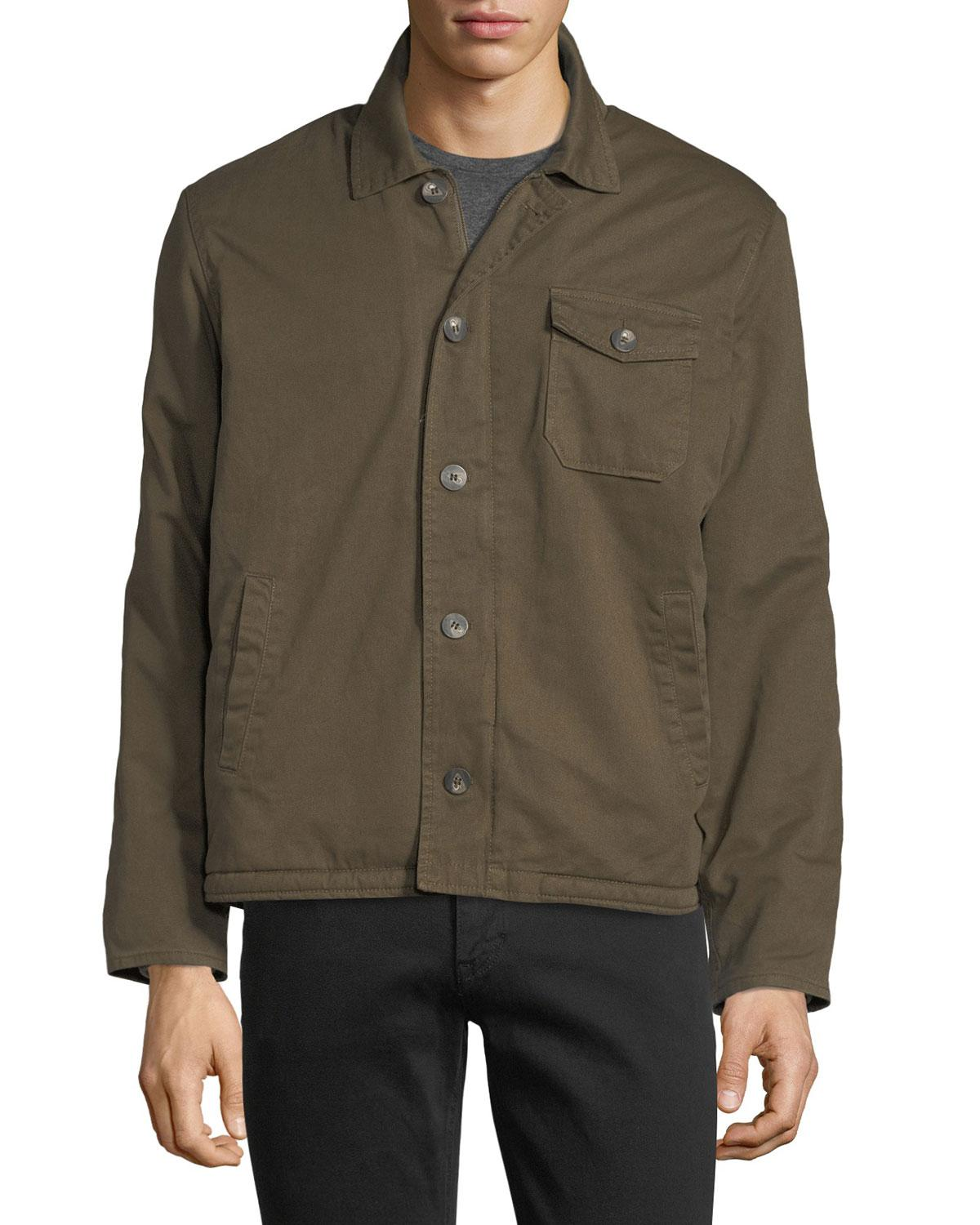 5fab95366 Velvet Green Canvas Faux-sherpa-lined Army Jacket for men