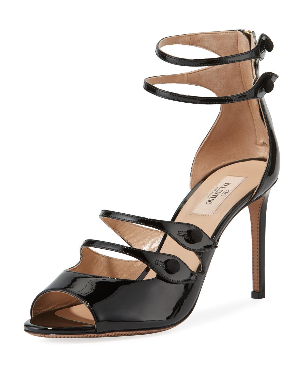 e83685d5ecc9 Lyst - Valentino Button-strap Patent Leather Sandals in Black