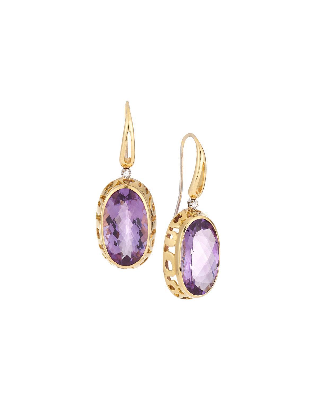 Roberto Coin 18k Prasiolite & Diamond Drop Earrings bkC9R