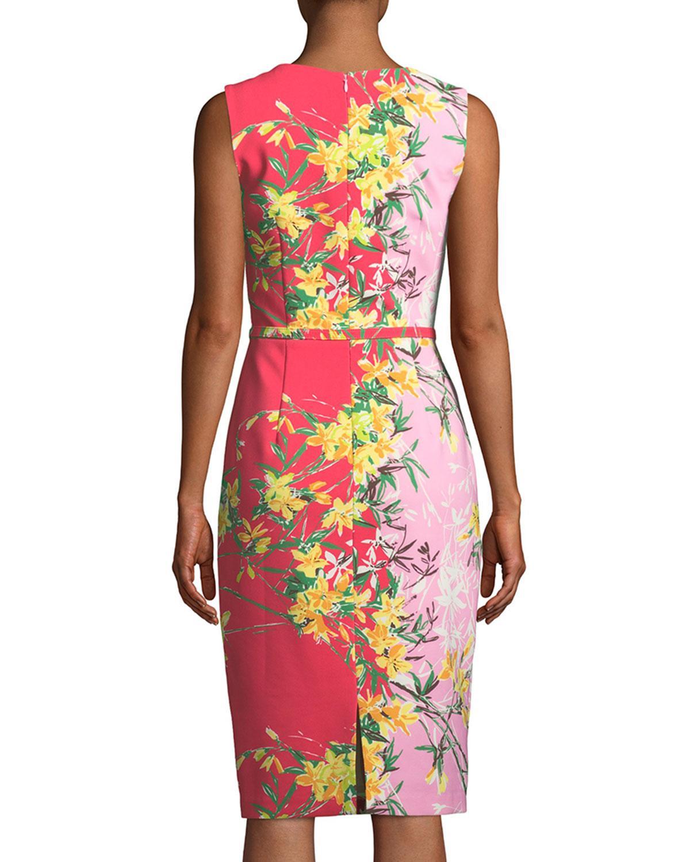 Lyst - David Meister Two-tone V-neck Sleeveless Dress in Pink 971325b5b