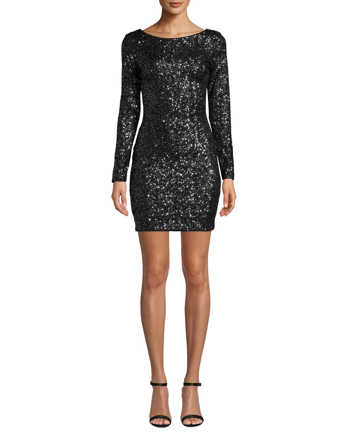 f323a21811d Dress the Population Lola Long-sleeve Scoop-back Sequined Mini ...
