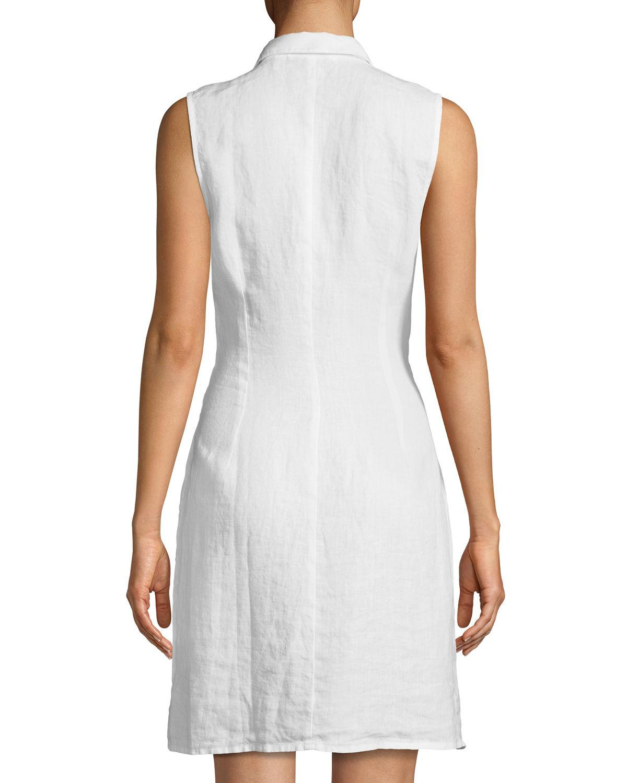 e158e3aa613327 Three Dots - White Sleeveless Tie-front Linen Shirtdress - Lyst. View  fullscreen
