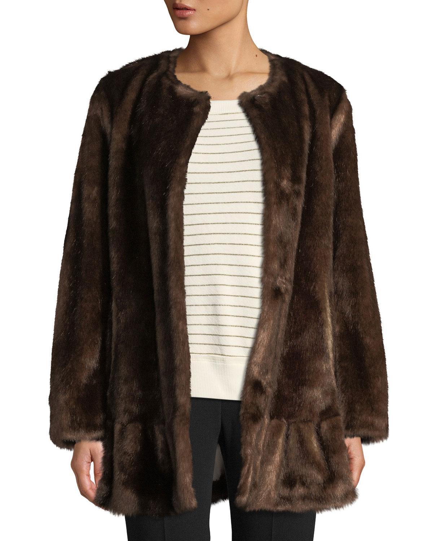 Jones New York Petite Faux-fur-scarf Walker Coat in Taupe