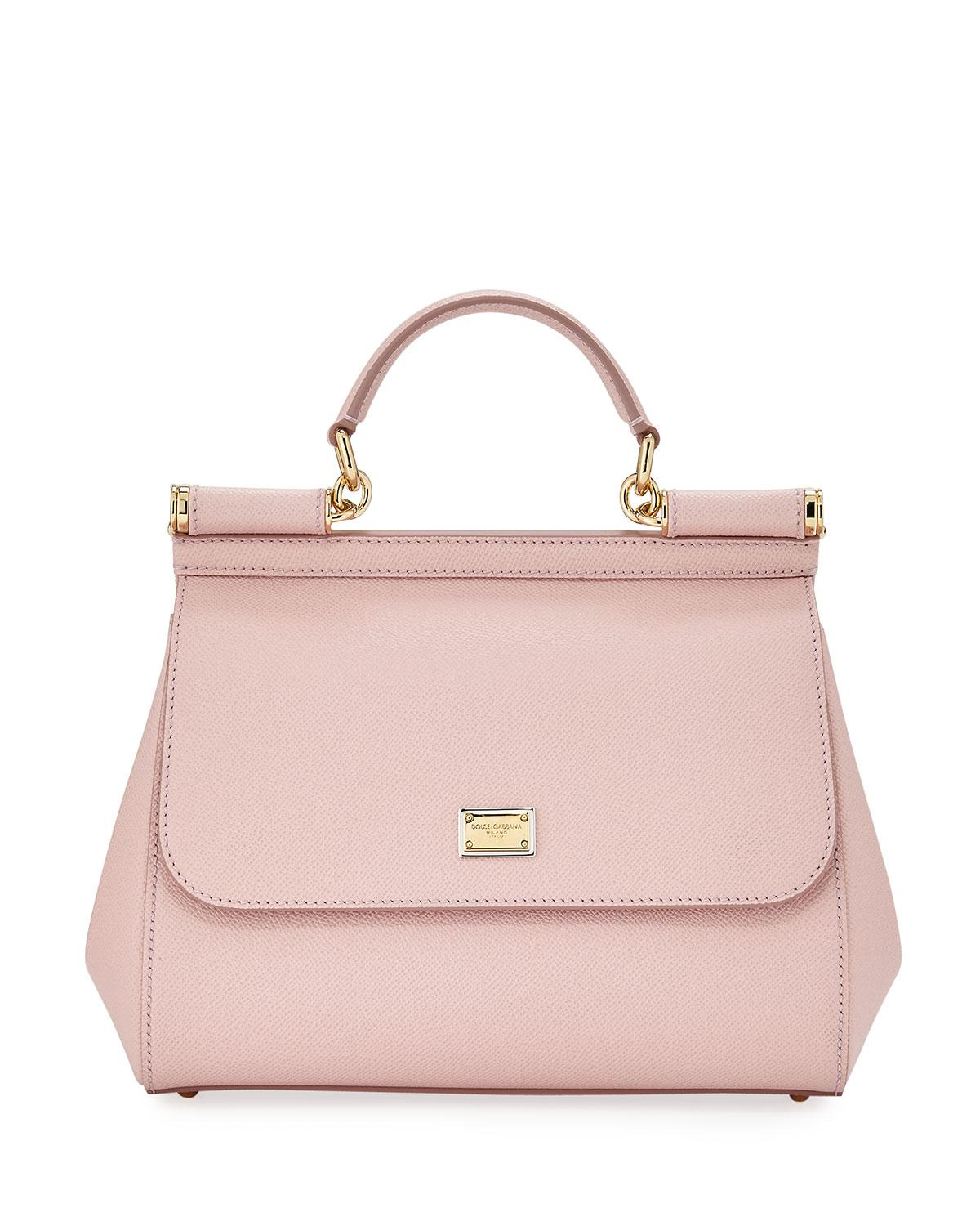5d96a6778769 Lyst - Dolce   Gabbana Sicily Medium Calf Leather Satchel Bag in Pink