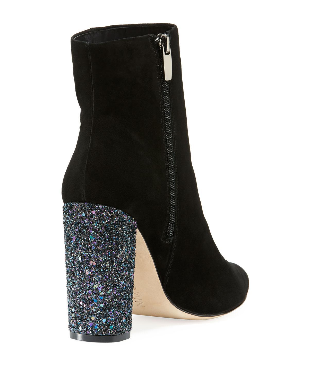 ec396202fdd1 Neiman Marcus - Black Bucasia Suede Booties With Glitter Heel - Lyst. View  fullscreen