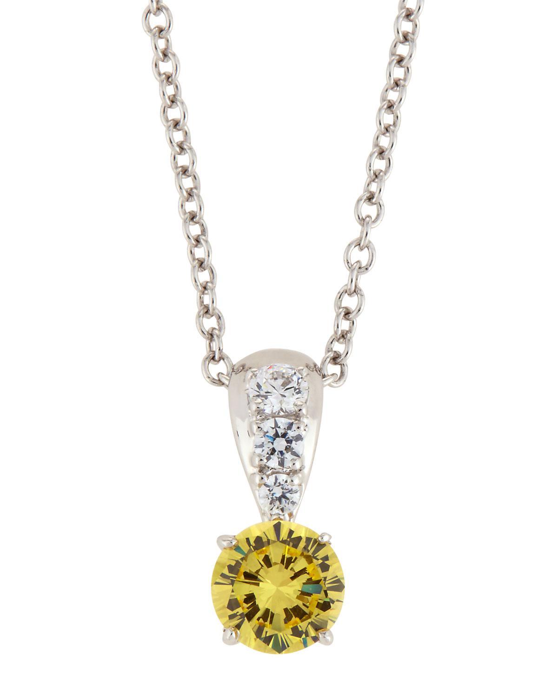 Fantasia Canary & White CZ Crystal Pendant Necklace J7UbUIuGq