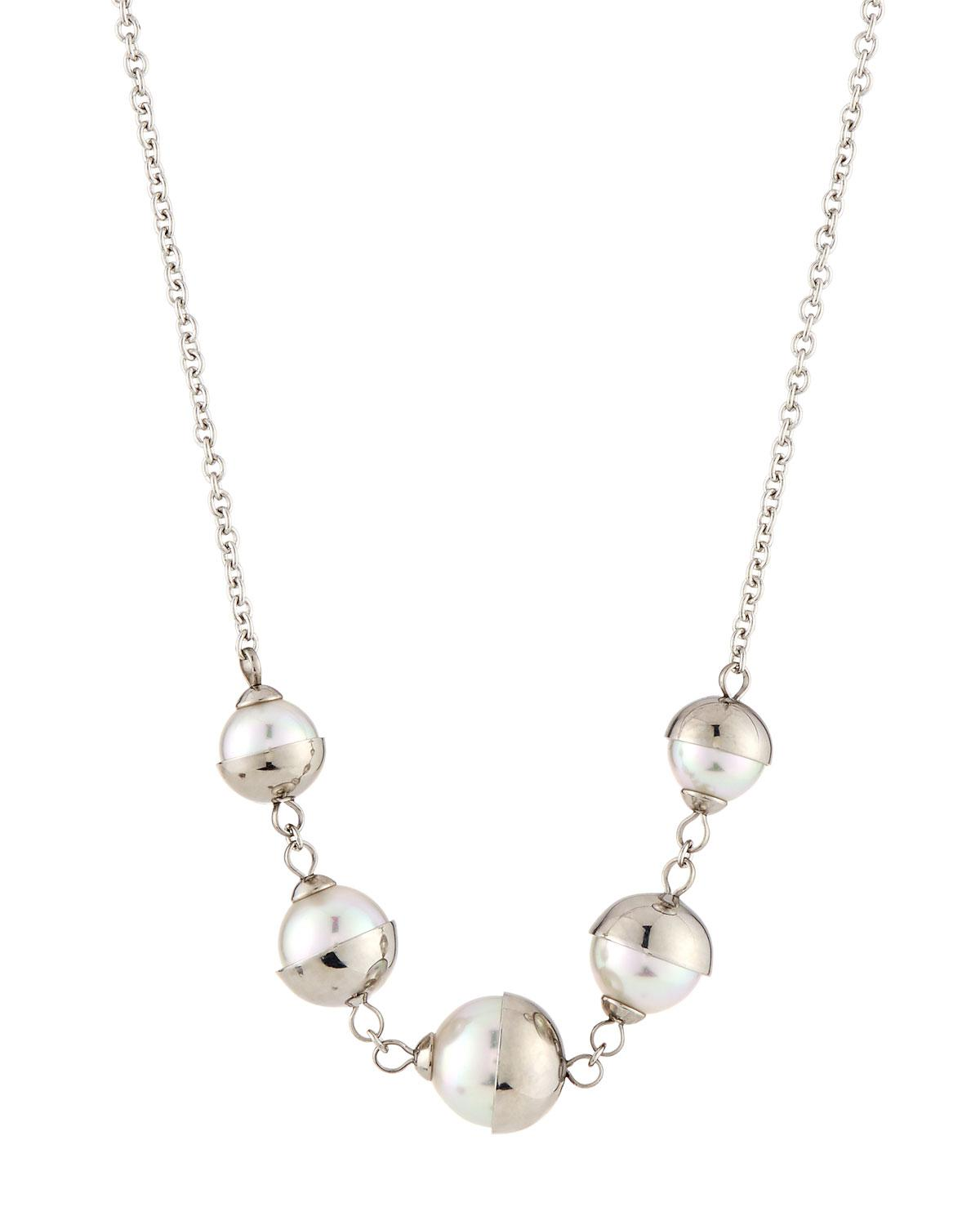 Majorica 8mm Pearl Y-Drop Necklace w/ Infinity Accent, White