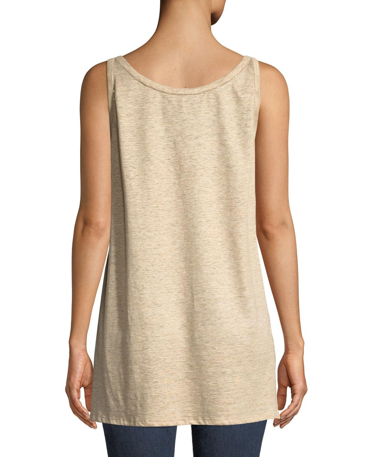 6f123739c693c Lyst - Lafayette 148 New York Beaded Silk-linen Combo Tank in Natural