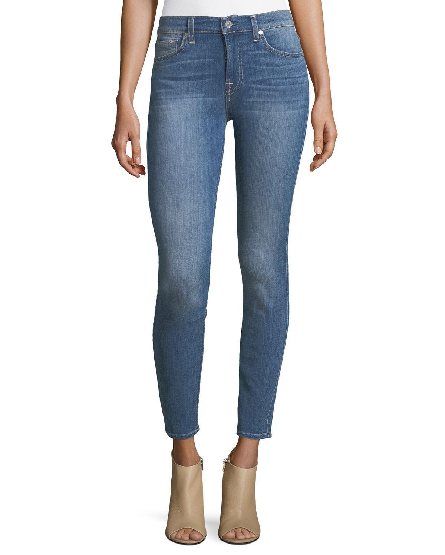 lyst 7 for all mankind nickel skinny jeans in blue. Black Bedroom Furniture Sets. Home Design Ideas
