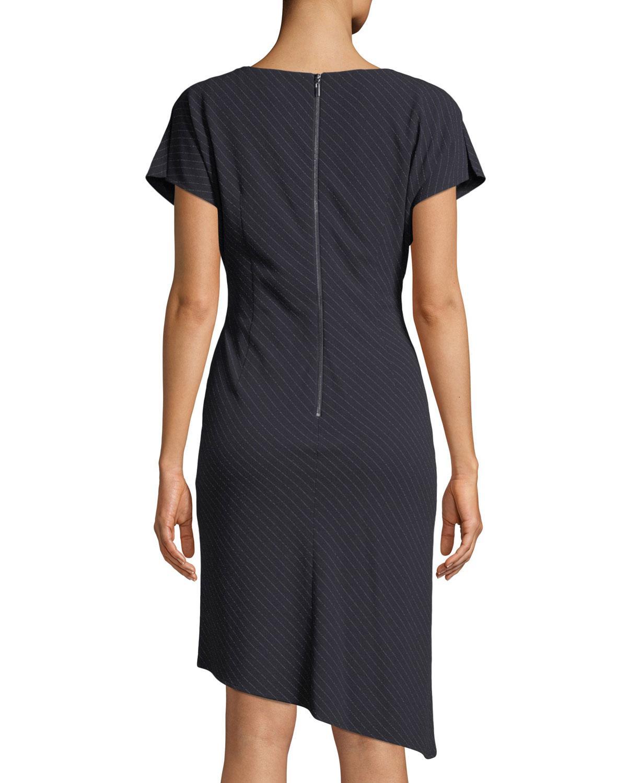 dbc30e4b Lyst - Tahari Pin Stripe Draped Front Sheath Dress in Blue