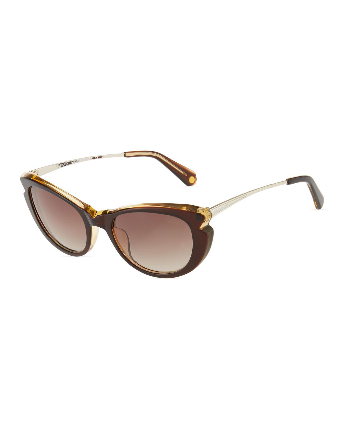 ab6ba9ffce Lyst - Balmain Cat-eye Acetate Sunglasses in Brown