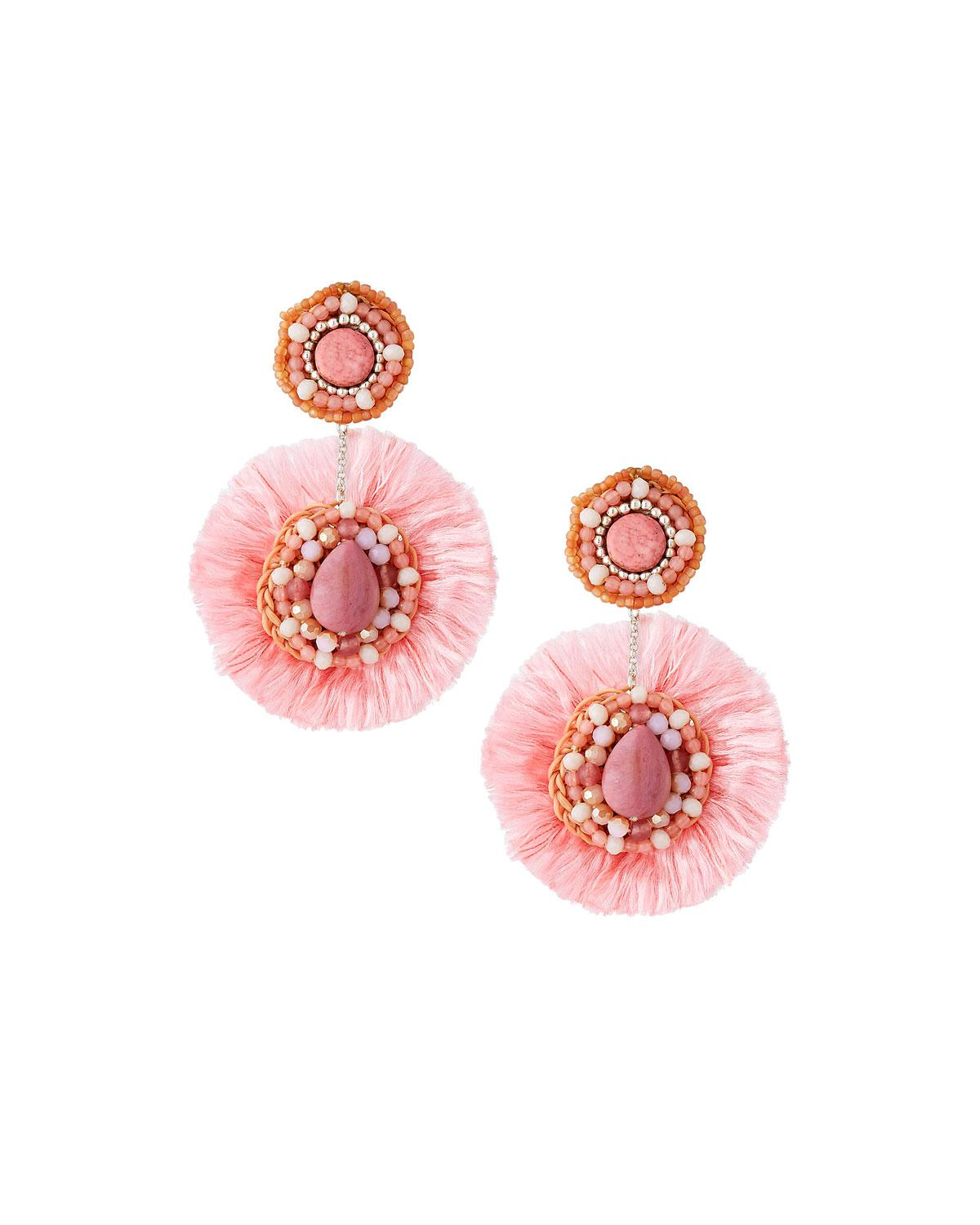 Nakamol Circle Fringe Drop Earrings FjYXxH