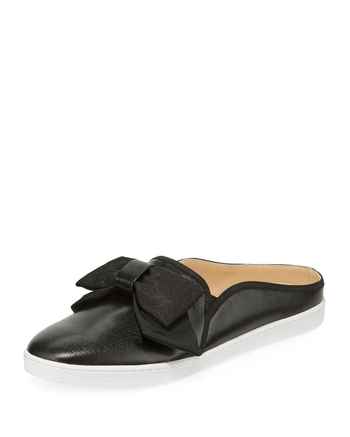 d1bbff22c15 Lyst - Neiman Marcus Courtenay Leather Bow Mule Sneakers in Black