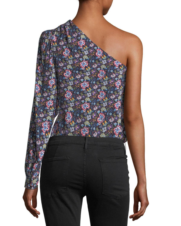 416e84df228184 FRAME - Blue Floral One-shoulder Top - Lyst. View fullscreen