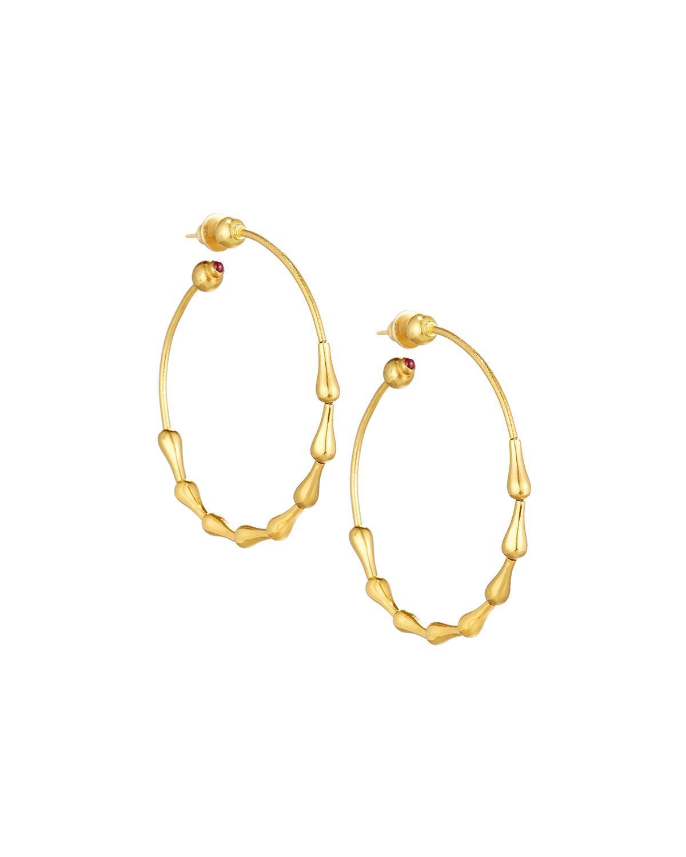 Gurhan Delicate 24k Dew Drop Hoop Earrings w/ Diamond Trio 9fGsbH