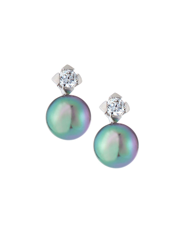 93ebd9949 Lyst - Majorica Tu Y Yo Cubic Zirconia & Pearl Earrings Gray in Gray
