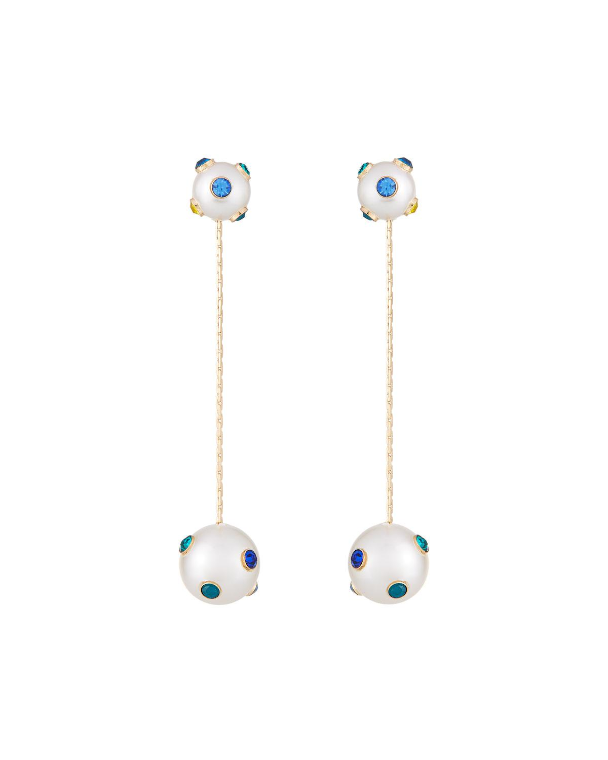Lydell Nyc Pearly Dangle Earrings w/ Crystals LqqERVAcU