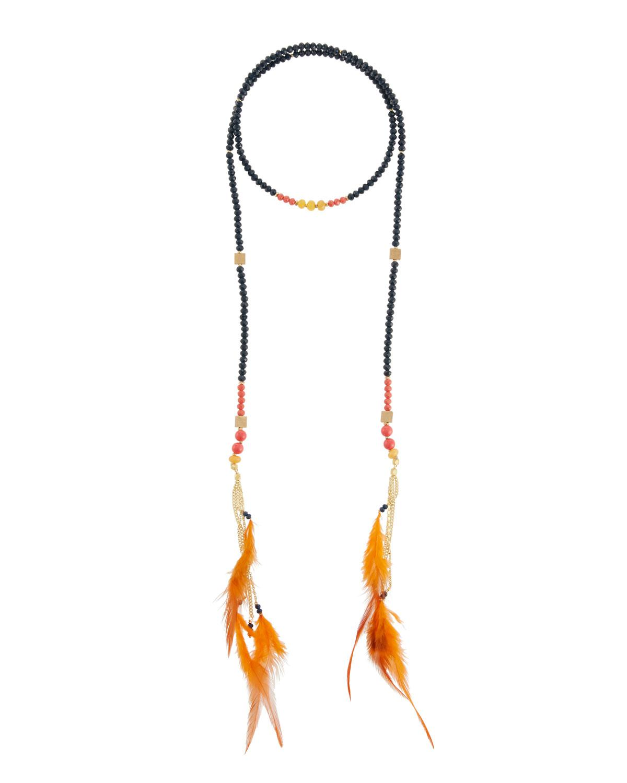 Nakamol Mixed Crystal & Feather Lariat Necklace 1ntopnHkru