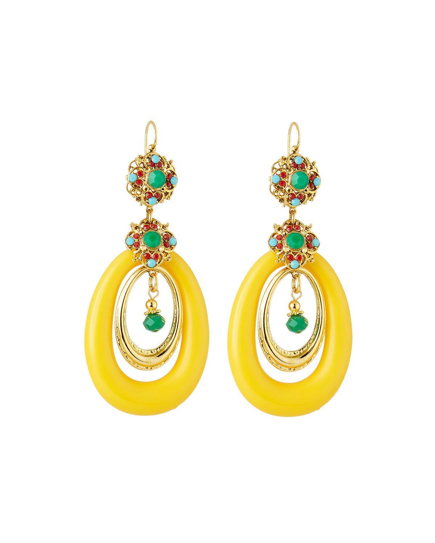 Jose & Maria Barrera Lucite Hoop Drop Earrings, Yellow