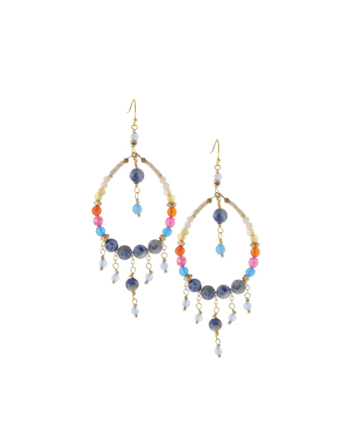 Nakamol Fringe Teardrop Earrings, Blue