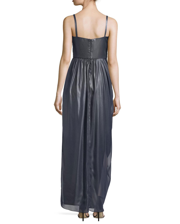 958ceea25e59 Lyst - Vera Wang Metallic Chiffon Draped Gown in Blue